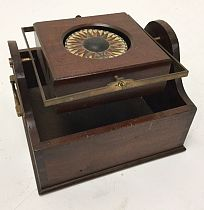 Wooden-cased, gimballed compass
