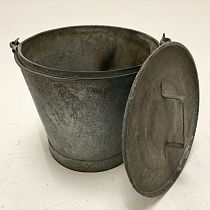 Large galvanised bucket with lid