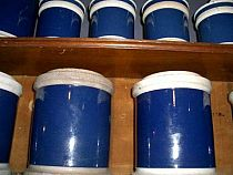 Selection of blue drug jars