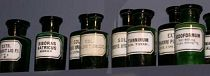 Green glass chemists rounds. 19th century