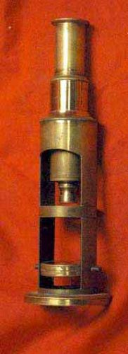 Small Antique Brass Cylindrical Microscope