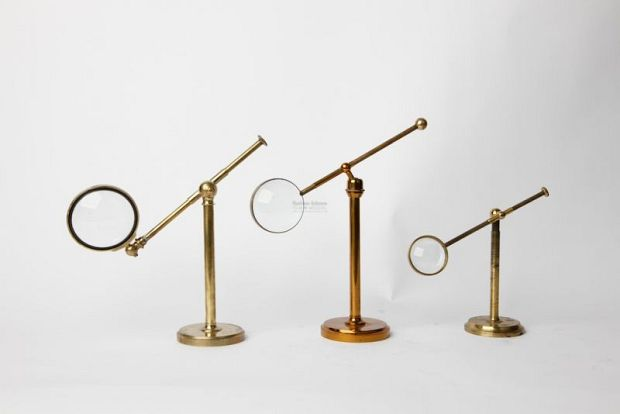 Magnifying Glasses On Brass Stands Scientific Antique Props