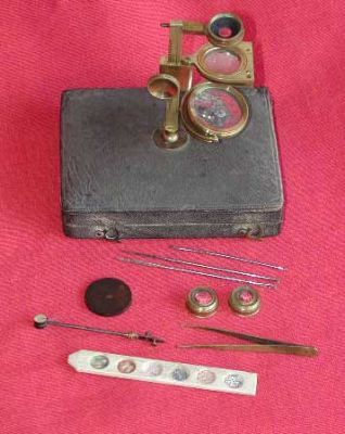 18th century simple microscope and accessories
