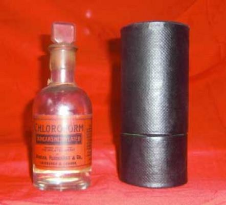 Chloroform Dropper Bottle in original case c 1890.