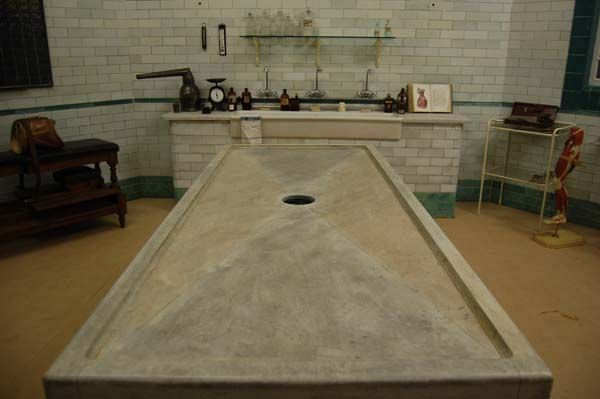Marbled Mortuary Table in the Morgue Film Set